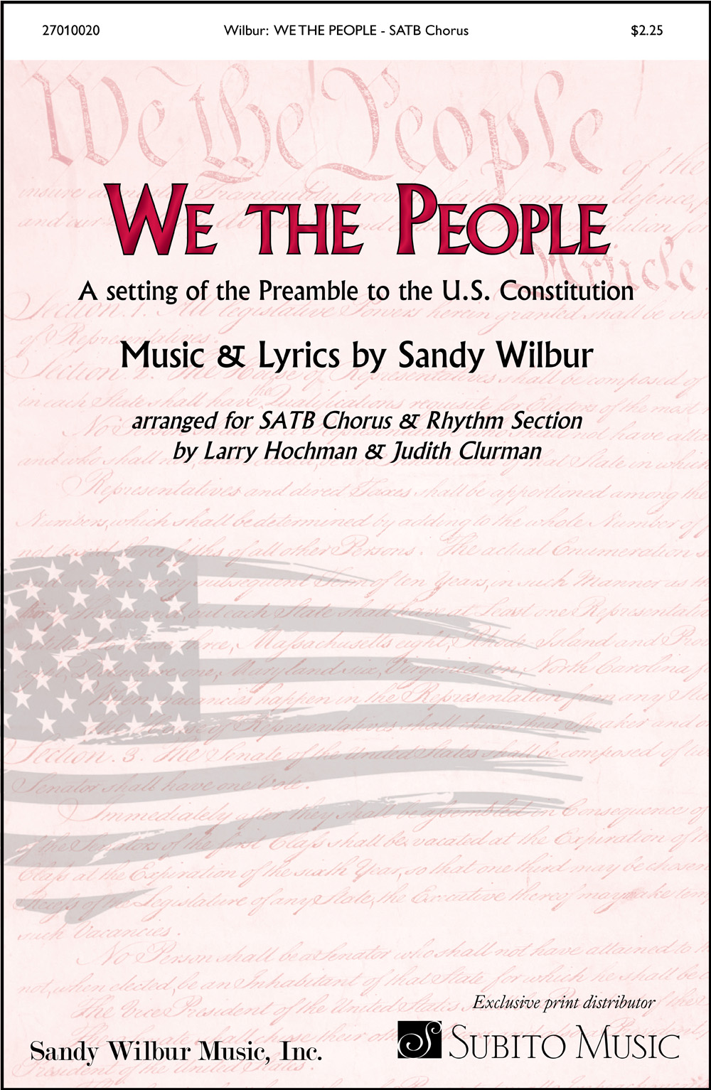 We the People for SATB Chorus & Piano Discount Lot of 20 (with opt. Synthesizer, Guitar, Bass, Drums)